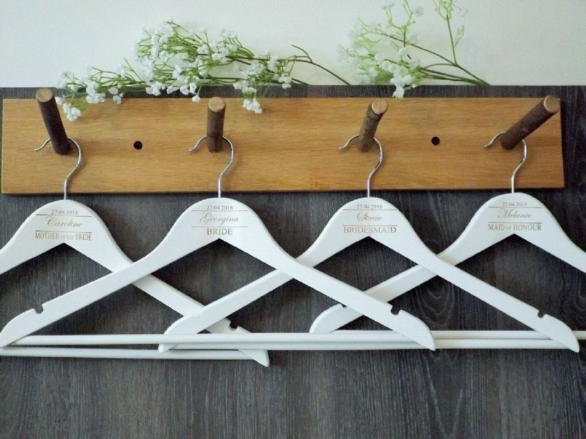 Personalised White Wooden Wedding Hangers Set of 9 (D2)